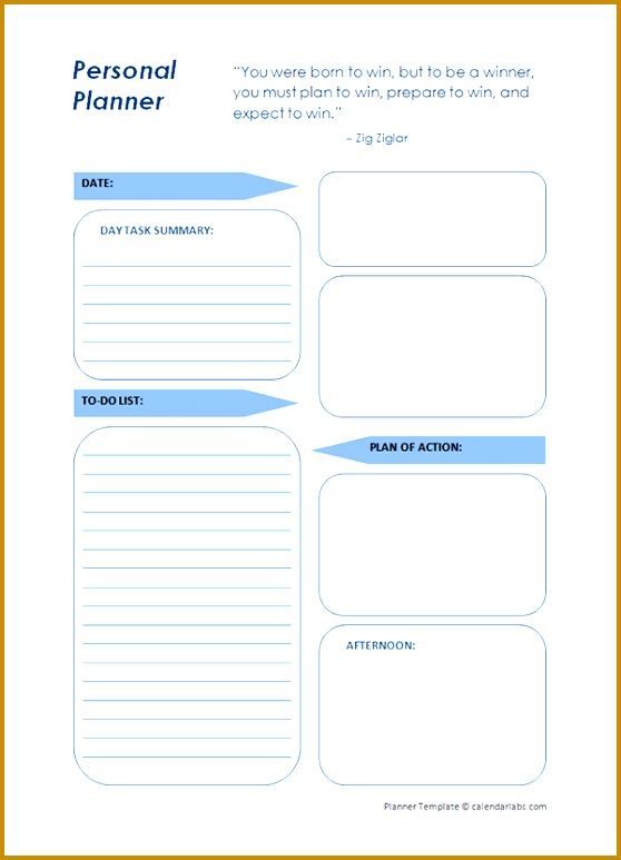 Printable Daily Planner Template 773558