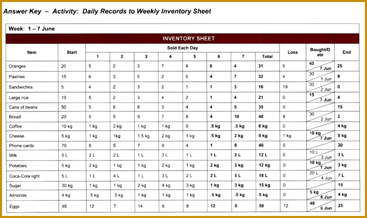 Example Inventory Sheet Answers 432725