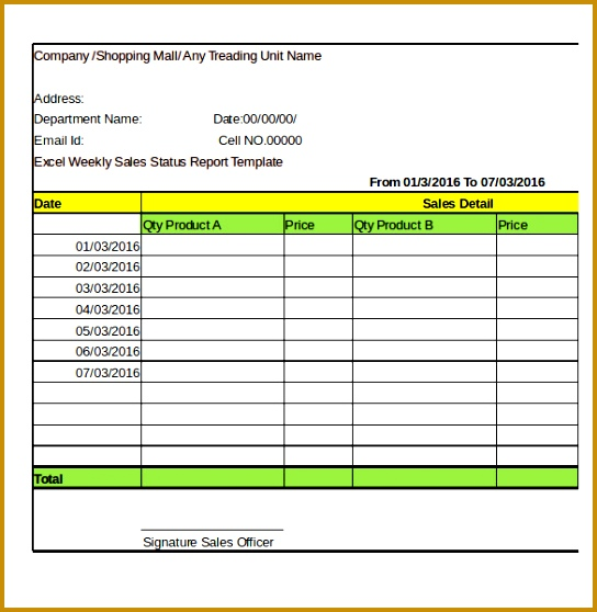 Excel pnay Weekly Sales Status Report Template Download 558544