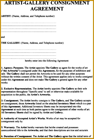 consignment agreement art agreement 577393