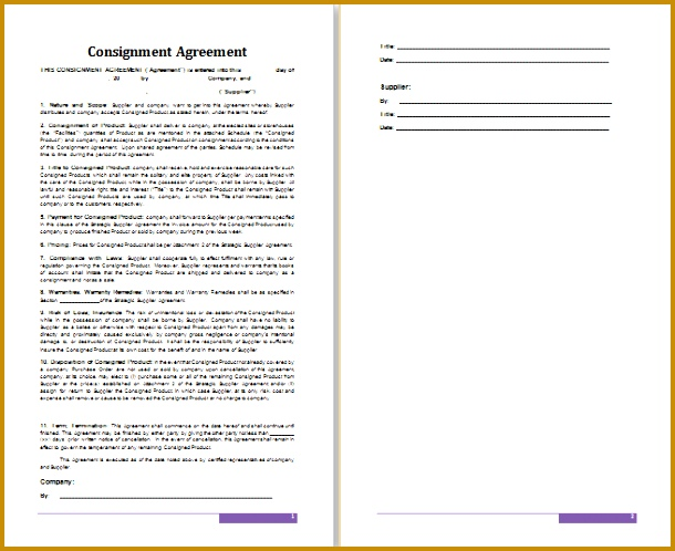 consignment agreement template 498610