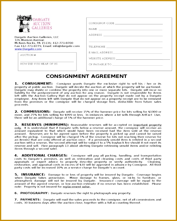 CONSIGNMENT AGREEMENT Dargate Auction Galleries 595744