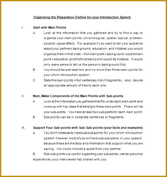 ... Demonstration Speech Outline Template 13339 Speech Outline Example]  Speech Outline Template 9 Free Sample