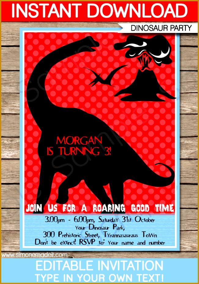 Dinosaur Party Invitations Template – red blue & black 651931