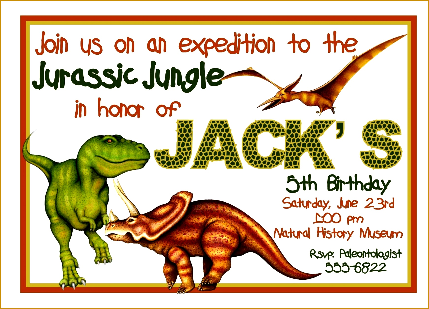 Free Dinosaur Invitations 12551743
