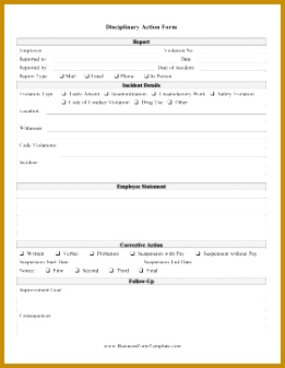 Disciplinary Action Form Business Form Template 337261