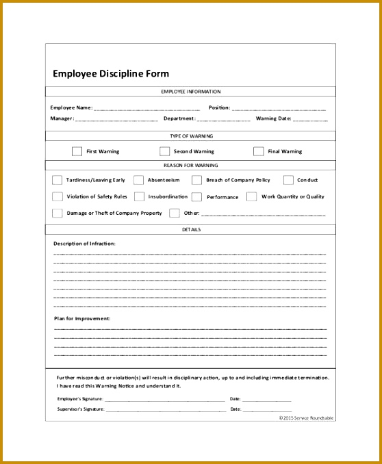 Employee Discipline Form – 6 Free Word Pdf Documents Download with Employee Discipline Form 558678