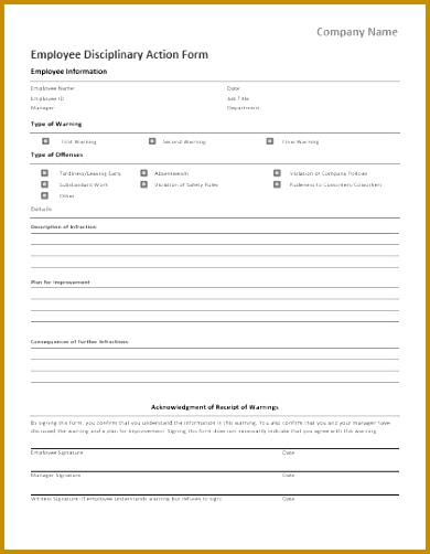Employee Disciplinary Action Forms For Ms Word 502390