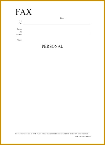 Personal Information Fax Cover Sheet 465338