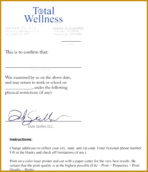 Sample doctors note template free doctors notes for work 554476