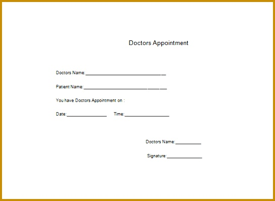Doctor Appointment Note Free Word Download 398544