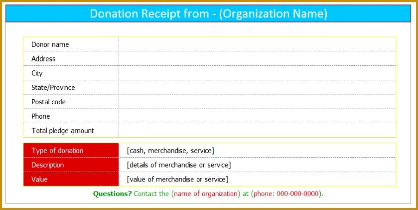 Donation receipt template Excel 421839