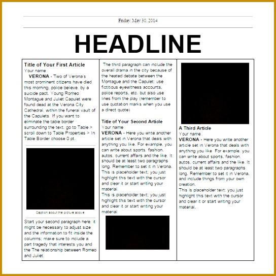 Elementary School Newspaper Template 40195 Newspaper Template By