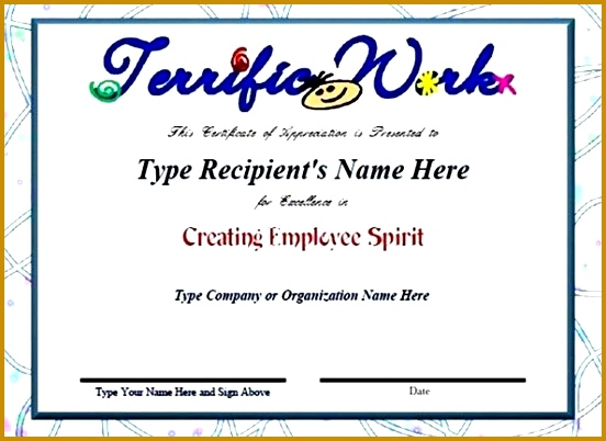 employee recognition certificate template sample templates appreciation 402552