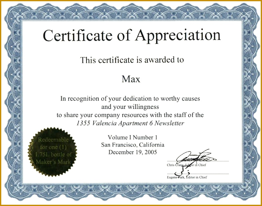 6 Appreciation Certificate Templates 664841