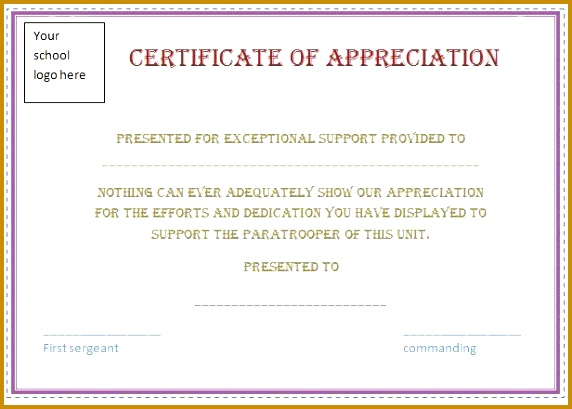 free certificate appreciation template purple border employee recognition awards 409572