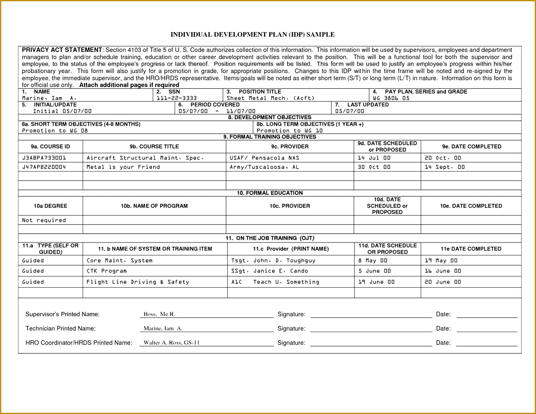 Employee Development Plan Template New 2017 Resume Format And Cv 13651766