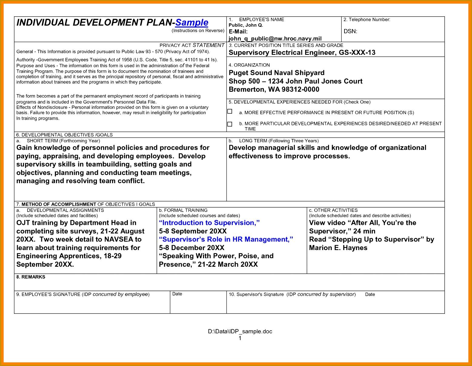 Sample Employee Work Plan Sample Work Improvement Plan Outline Calhr Home 8 Employee Development Plan Template 15581209