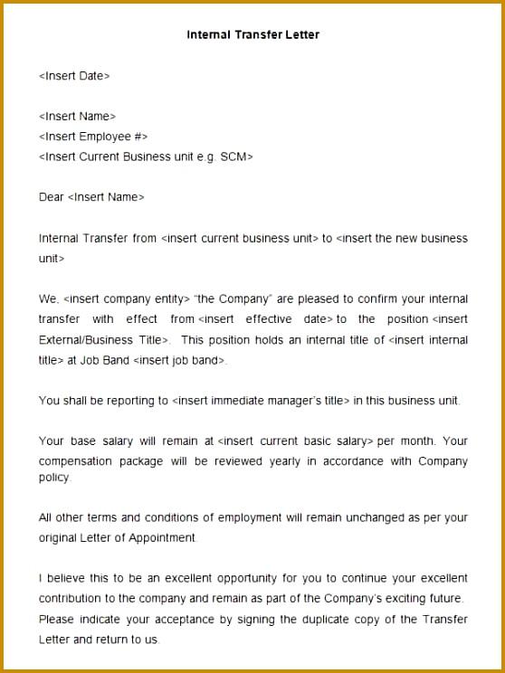 Internal Transfer Letter Template 744558