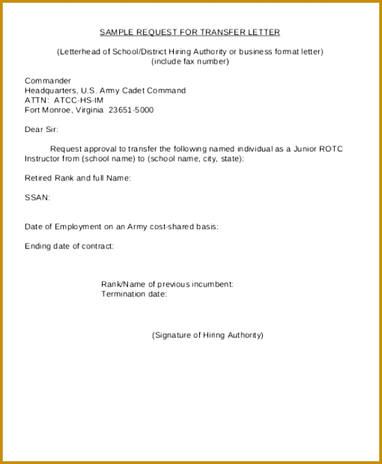 Sample Request for Transfer Letter Format 678558