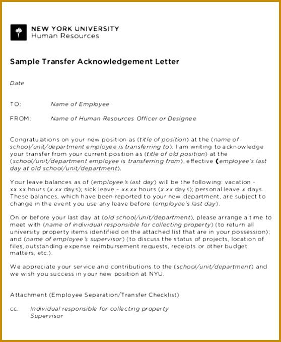 HR Transfer Acknowledgement Letter Format 678558