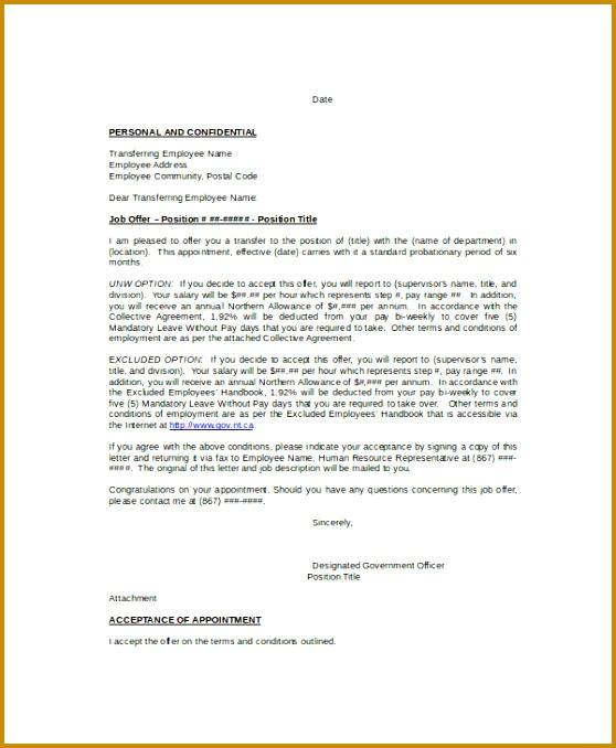Internal Job Transfer Letter Template 558678