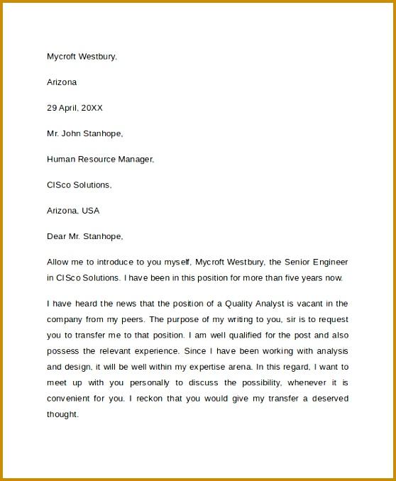 Sample Transfer Request Letter 558678