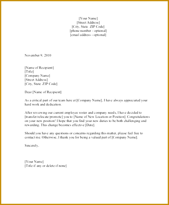 Department Transfer Confirmation Letter Template 678558