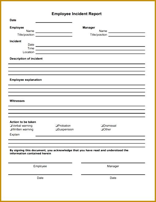 Employee Incident Report Template 658509