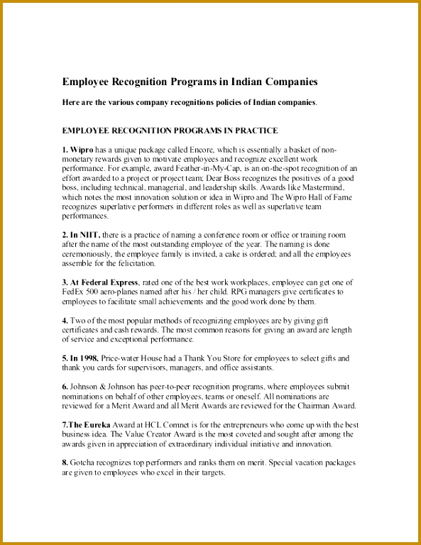 Employee Recognition Programs in Indian panies Here are the various pany recognitions policies of Indian panies 768593