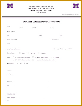 EMPLOYEE GENERAL INFORMATION FORM Middletown City Schools 358277