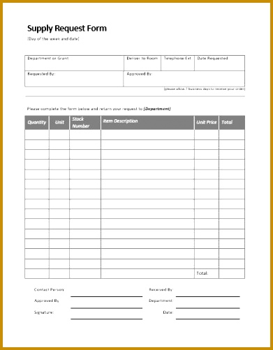 Equipment Supply Request Form 502391