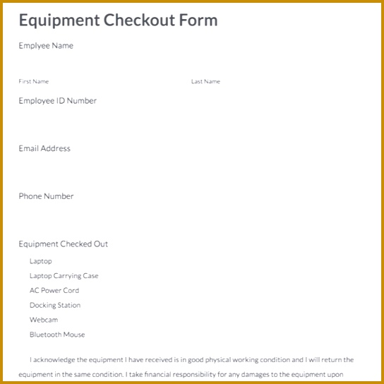 equipment checkout form template 544544