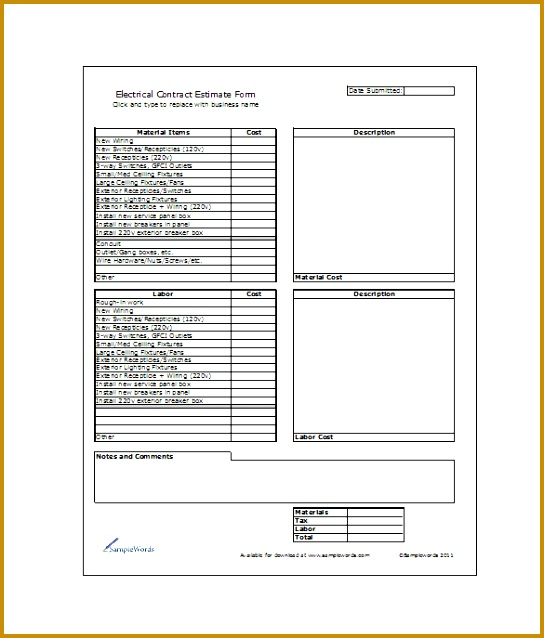 This is an electrical contract estimate template with highlights on every aspect of 2 major categories of the job such as material items & labor 638544