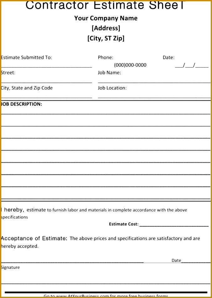 Blank Estimate Template 950677