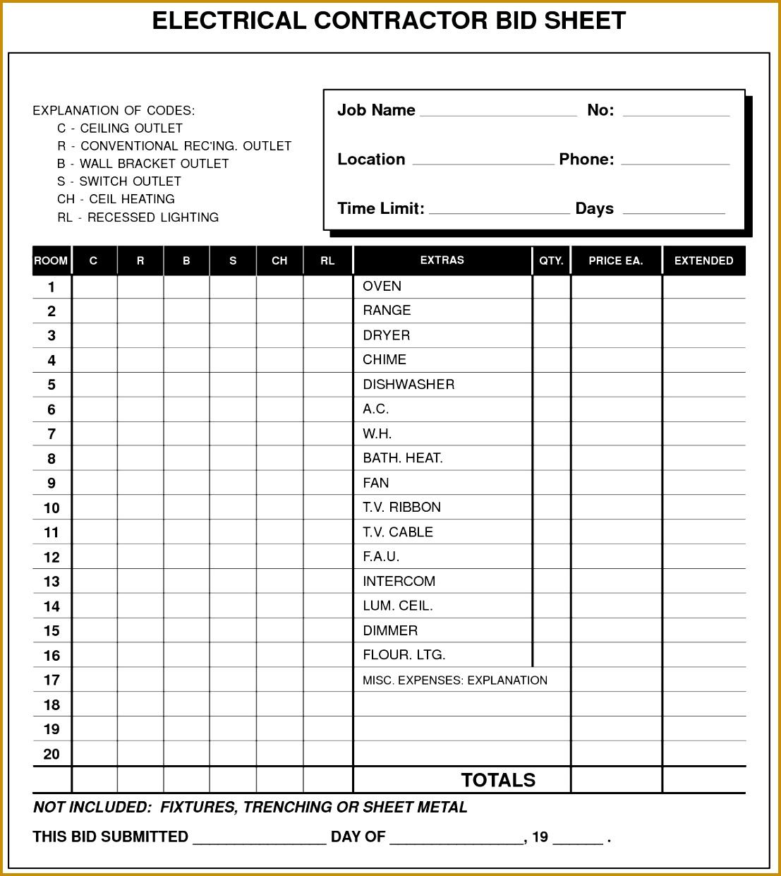 Electrical Contractor Bid Sheet 12411107