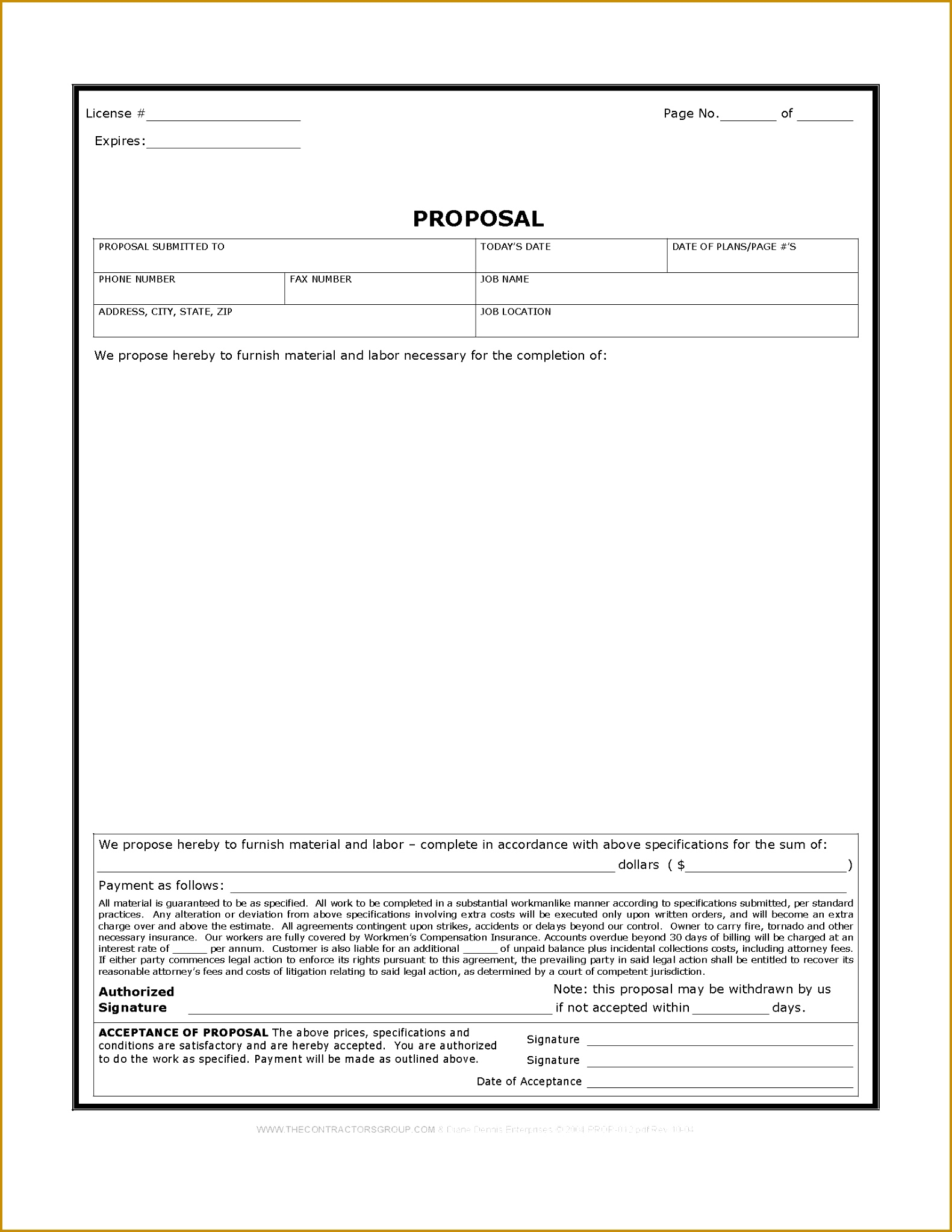 Free Print Contractor Proposal Forms 15812045