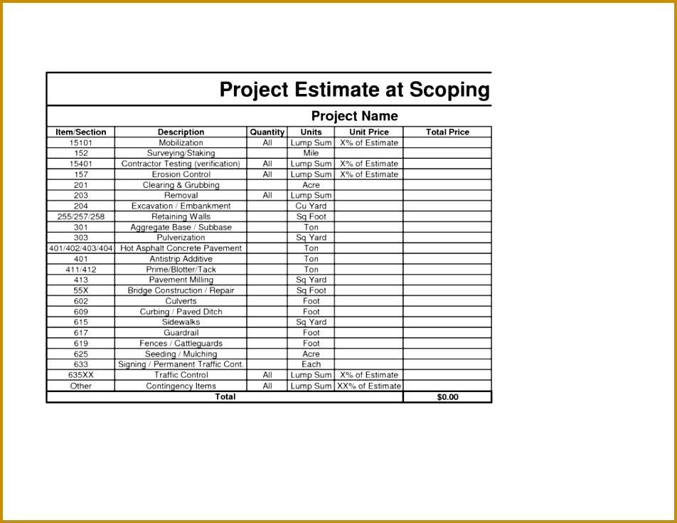5 Estimation format Excel | FabTemplatez