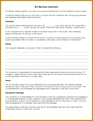 This DJ contract sample outlines all the essentials of the event and includes a section for the agreed upon logistics and fees from both parties 465358