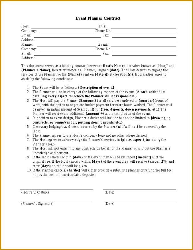 7 Best of Printable Wedding Planner Contract Agreement Wedding Planner Contract Template Wedding Planner Contract Sample Templates and Event 677876