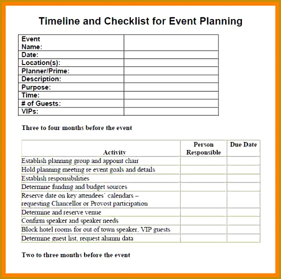 Event Planning Checklist Template timeline and checklist for event planning 558561