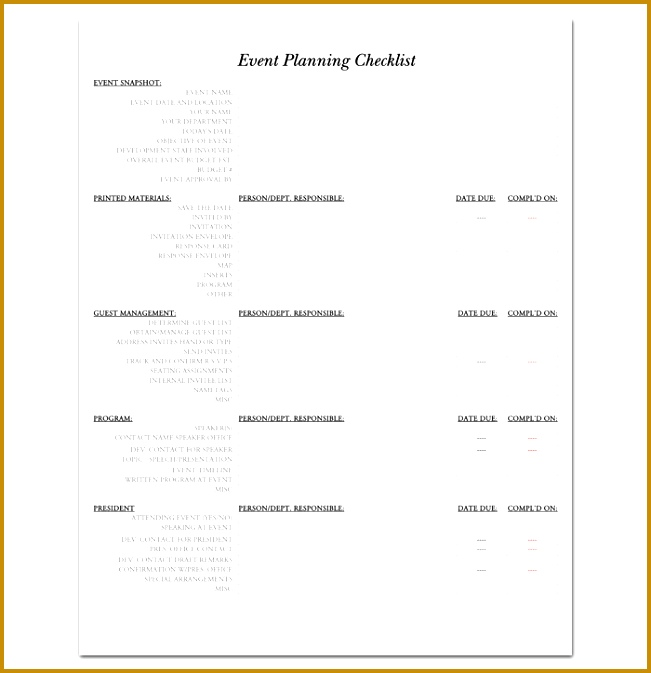 Event Planning Checklist Template 1 651673