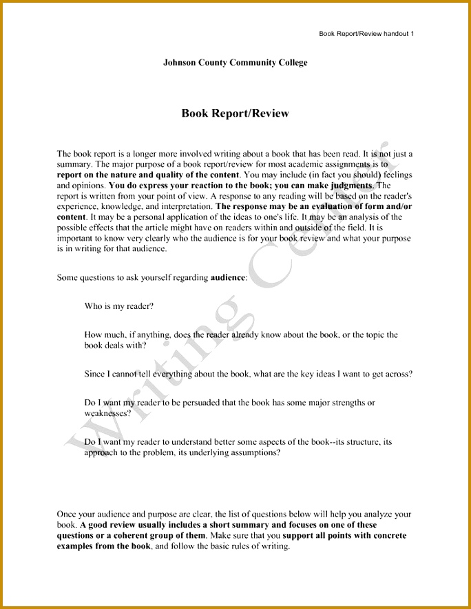 4 Example Of A Book Report for Middle School