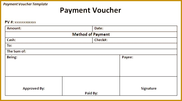 Payment Voucher Template Printable 354639