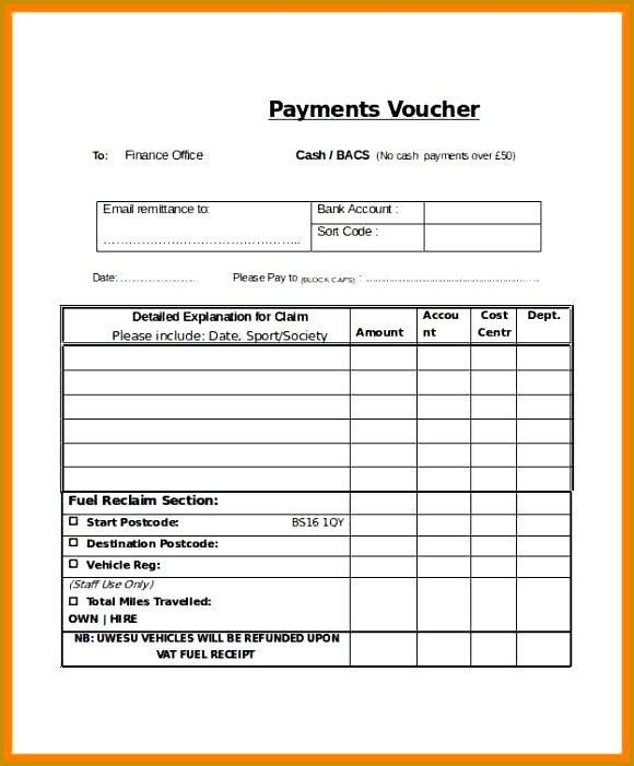 Payment Vouchers Template Blank Payment Voucher Template In Word 701580