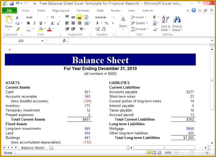 Free Balance Sheet Excel Template For Financial Reports 542745