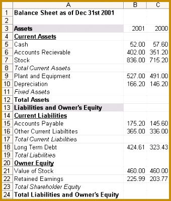 Partially pleted Balance Sheet 401340