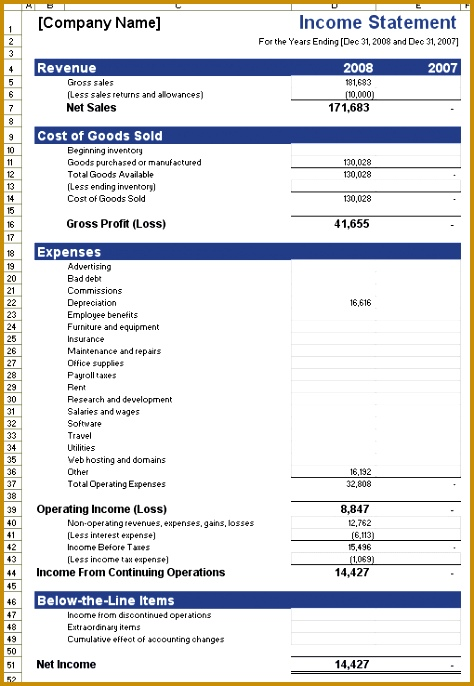 In e Statement Template For Excel with Examples Financial Statements Template 88 686474
