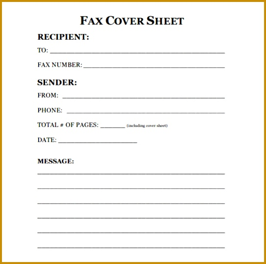 fax cover sheet template 538543