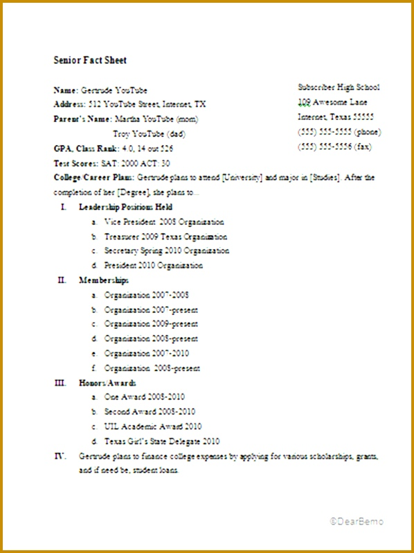 Senor Fact Sheet Example PNG 797598